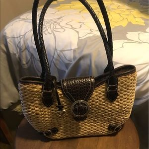 BRIGHTON Straw and Leather Shoulder Bag